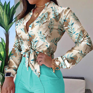 Women Elegant Floral Print Blouse Shirt 2020 Autumn New Casual Long Sleeve Button Tops Lady Sexy Bandage Turn-Down Collar Blusa