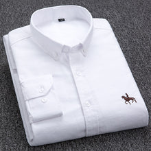 Load image into Gallery viewer, 100% Cotton Oxford Shirt Men's Long Sleeve Embroidered Horse Casual Without Pocket Solid Yellow Dress Shirt Men Plus Size 5XL6XL