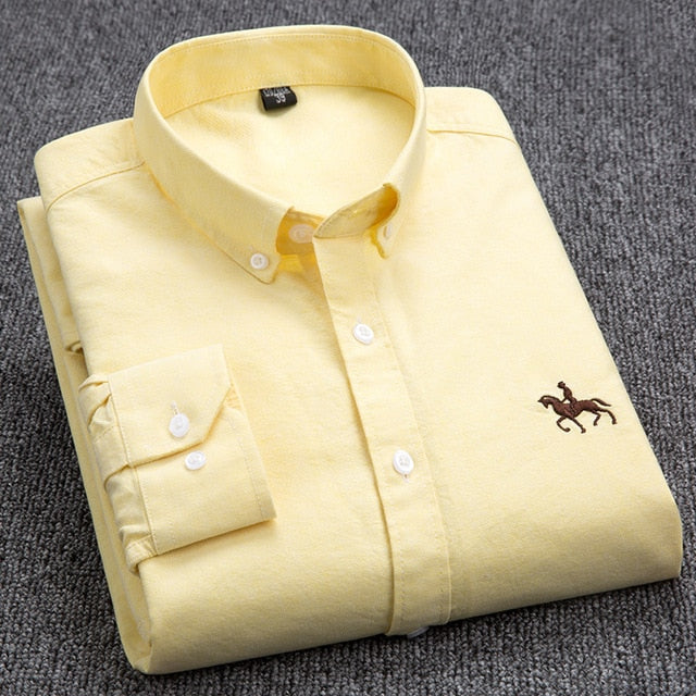 100% Cotton Oxford Shirt Men's Long Sleeve Embroidered Horse Casual Without Pocket Solid Yellow Dress Shirt Men Plus Size 5XL6XL