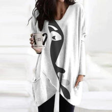 Load image into Gallery viewer, Elegant Women Abstract Face Print Blouse Shirt Autumn Long Sleeve Pockets Irregular Ladies Tops Casual V Neck Female Shirt Blusa