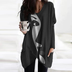 Elegant Women Abstract Face Print Blouse Shirt Autumn Long Sleeve Pockets Irregular Ladies Tops Casual V Neck Female Shirt Blusa
