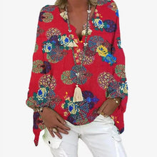 Load image into Gallery viewer, Elegant V-Neck Linen Cotton Women Blouse Shirts 2020 Autumn Floral Print Plus Size Tops Female Vintage Casual Long Sleeves Blusa