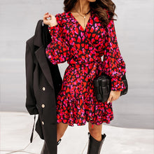 Load image into Gallery viewer, Spring Long Lantern Sleeve Print Wrap Dress Women Elegant Ruffles V Neck Red Party Dresses Autumn Female A Line Office Vestidos
