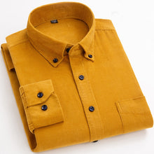 Load image into Gallery viewer, Cotton Corduroy Shirt Long Sleeve Winter Regular Fit Mens Casual Shirt Warm S~6xl Solid Men's Shirts with Pokets Autumn Quality