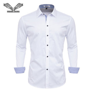 VISADA JAUNA Men Shirts Europe Size New Arrivals Slim Fit Male Shirt Solid Long Sleeve British Style Cotton Men's Shirt Office