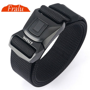 FRALU Hard Metal Simple Convenient Tactical Belt Soft Genuine Nylon Military Belt Tough Non-Slip Men's Hunting Fishing Belt