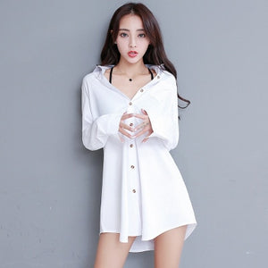 White Collar Shirt Women Chemise Blanche Femme Oversize Long Sleeve Blouse Casual 2020 Autumn Korean Button Up Tops Blusas