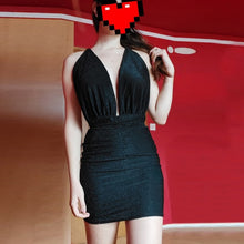 Load image into Gallery viewer, Sexy Backless Glitter Dress Women  Deep V Bodycon Mini Dresses 2020 Summer Night Club Party dress