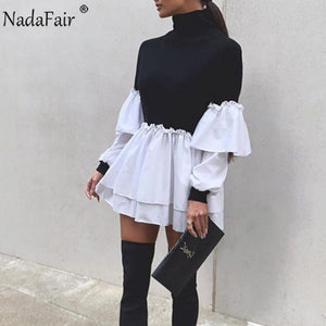 Nadafair Puff Sleeve Sexy Mini Dress Women Casual Party Rib Shirt Patchwork 2021 Spring Long Sleeve Wrap A-Line Woman Dress