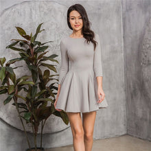 Load image into Gallery viewer, MOARCHO Woman Sexy O-Neck Fit A-Line Dresses  Lady Paty Club Three Quarter Sleevess Basic Mini Dresses 2020 New Fashion
