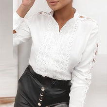 Load image into Gallery viewer, Women Elegant Lace Patchwork Hollow Out Long Sleeve Blouses Shirts Fashion O-Neck Bow Solid Tops Ladies Casual Streetwear Blusa