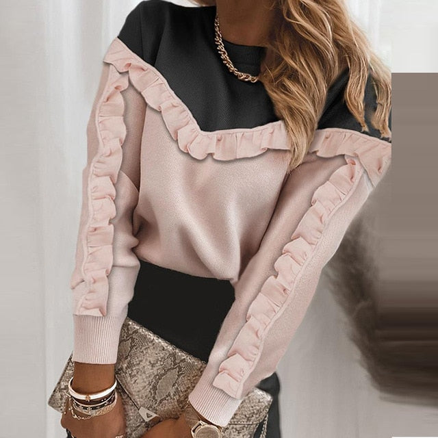 Women Elegant Lace Patchwork Hollow Out Long Sleeve Blouses Shirts Fashion O-Neck Bow Solid Tops Ladies Casual Streetwear Blusa
