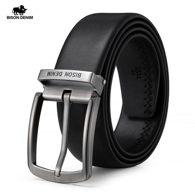 BISON DENIM Genuine Leather Alloy Pin Buckle Luxury Brand Leather Strap Belt for Men Vintage Designer Belt High Quality N71625