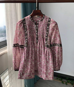 100% Cotton Women Floral Printed Blouse Pleated Long Lantern Sleeve Vintage V-neck Three Colors Loose Shirt