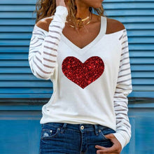Load image into Gallery viewer, Casual Women V Neck Heart Print Blouses Shirts Elegant Hollow Out Halter Pullover Tops Sexy Striped Patchwork Long Sleeve Blusas