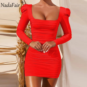Nadafair Square Neck Puff Sleeve Sexy Dress For Women 2020 Solid Basic Slim Wrap Ruched Mini Club Party Bodycon Women's Dress