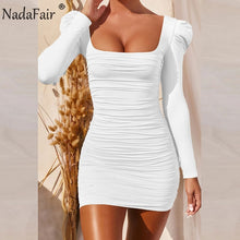 Load image into Gallery viewer, Nadafair Square Neck Puff Sleeve Sexy Dress For Women 2020 Solid Basic Slim Wrap Ruched Mini Club Party Bodycon Women's Dress