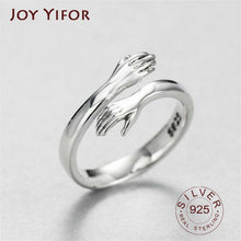 Load image into Gallery viewer, hot new 925 sterling silver European and American jewelry love hug ring retro fashion tide flow open ring GN601