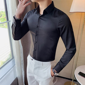 British Style New Solid Shirt Men Long Sleeve Fashion 2021 Autumn Business Formal Wear Men Shirts Slim Fit Casual Blouse Men 4XL