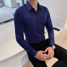 Load image into Gallery viewer, British Style New Solid Shirt Men Long Sleeve Fashion 2021 Autumn Business Formal Wear Men Shirts Slim Fit Casual Blouse Men 4XL