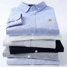 Load image into Gallery viewer, Casual Pure Cotton Oxford Striped Shirts For Men Long Sleeve Embroidery Logo Design Regular Fit Fashion Stylish
