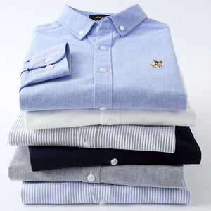 Casual Pure Cotton Oxford Striped Shirts For Men Long Sleeve Embroidery Logo Design Regular Fit Fashion Stylish