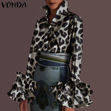 Load image into Gallery viewer, New Women Shirts VONDA 2021 Spring Summer Sexy Turn-down Collar Flare Sleeve Party Tops Office Shirt Casual Plus Size Blusas 5XL
