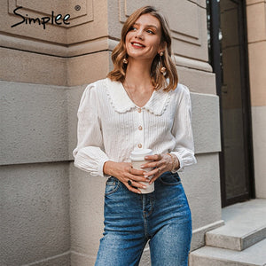 Simplee Vintage floral print blouse women Casual long sleeve female top shirt v-neck streetwear office ladies blouse shirt 2020