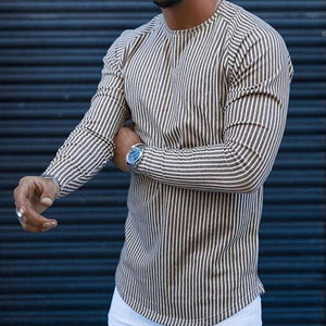 Men Casual 2021 Spring Plaid Print Long Sleeves Blouses Fashion O Neck Stripe Shirt For Male Autumn Loose Plus Size Top Pullover