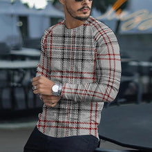 Load image into Gallery viewer, Men Casual 2021 Spring Plaid Print Long Sleeves Blouses Fashion O Neck Stripe Shirt For Male Autumn Loose Plus Size Top Pullover