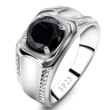 Load image into Gallery viewer, Wedding Ring for Men Women 925 Sterling Silver Black Cubic Zircon Stone Engagement Love Forever Rings Simple Jewelry Gift
