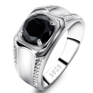 Wedding Ring for Men Women 925 Sterling Silver Black Cubic Zircon Stone Engagement Love Forever Rings Simple Jewelry Gift