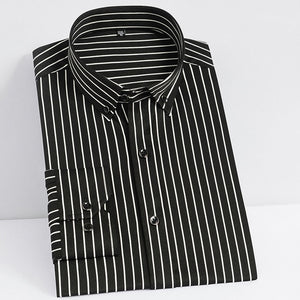 Men's Non-iron Stretch Long Sleeve Striped Dress Shirts Smart Casual Smooth Material Standard-fit Youthful Button-down Shirt