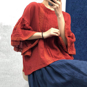 Johnature 2021 Summer New Vintage Linen Embroidery Ruffles Sleeve Plus Size Women Shirts Loose Solid Color Patchwork Blouse