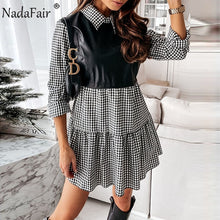 Load image into Gallery viewer, Nadafair Puff Sleeve Sexy Mini Dress Women Casual Party Rib Shirt Patchwork 2021 Spring Long Sleeve Wrap A-Line Woman Dress
