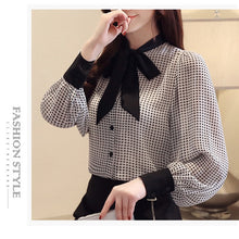 Load image into Gallery viewer, womens tops and blouses long sleeve women shirts fashion bow collor office blouse women plaid chiffon shirt female top Plus size
