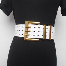 Load image into Gallery viewer, SHENGPALAE 2021 New Genuine Leather Belt Female Vintage Metal Buckle Wide Leather Waistband Women Designer Brand Belt Lady PE153