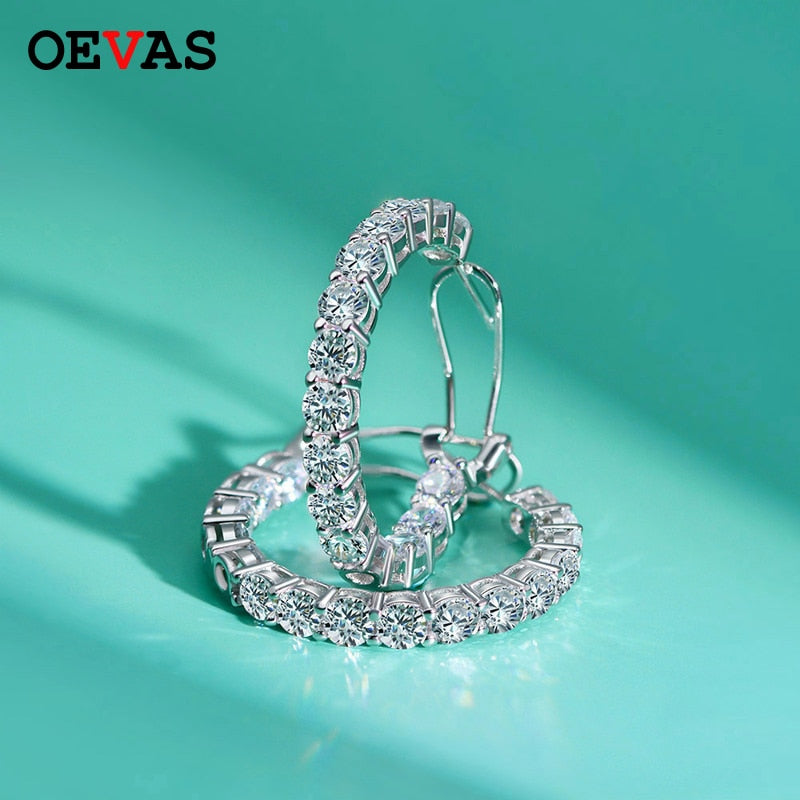 OEVAS Luxury 100% 925 Sterling Silver Created Moissanite Gemstone Hoop Earrings Wedding Engagement Fine Jewelry Gift Wholesale