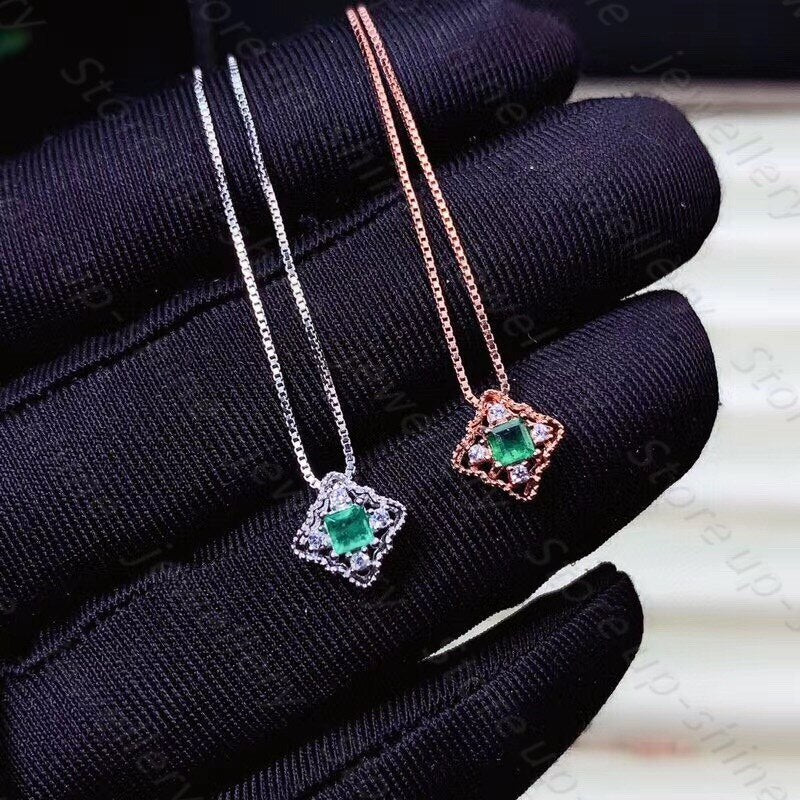 Natural emerald pendant 925 silver women's pendant necklace square cut luxury atmosphere fashion all-match