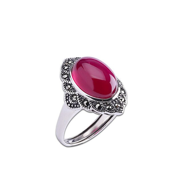 New S925 Sterling Silver Jewelry Seiko Thai Silver Ladies Open Red Corundum Ring