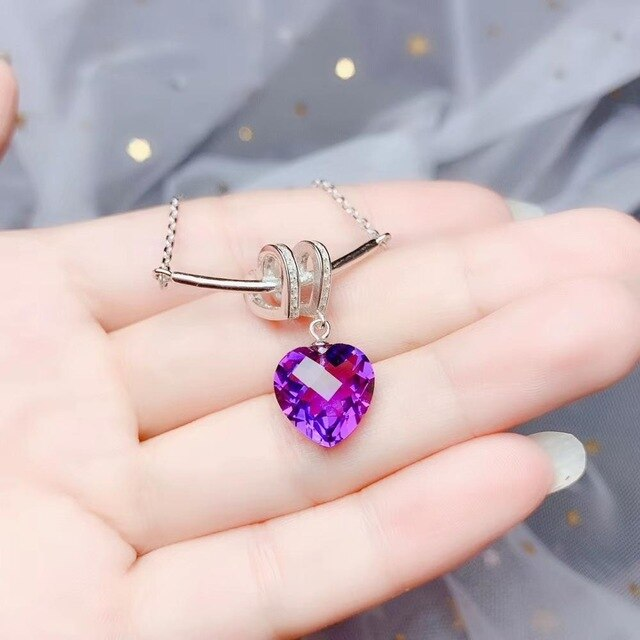KJJEAXCMY boutique jewels 925 sterling silver inlaid amethyst gemstone female necklace pendant