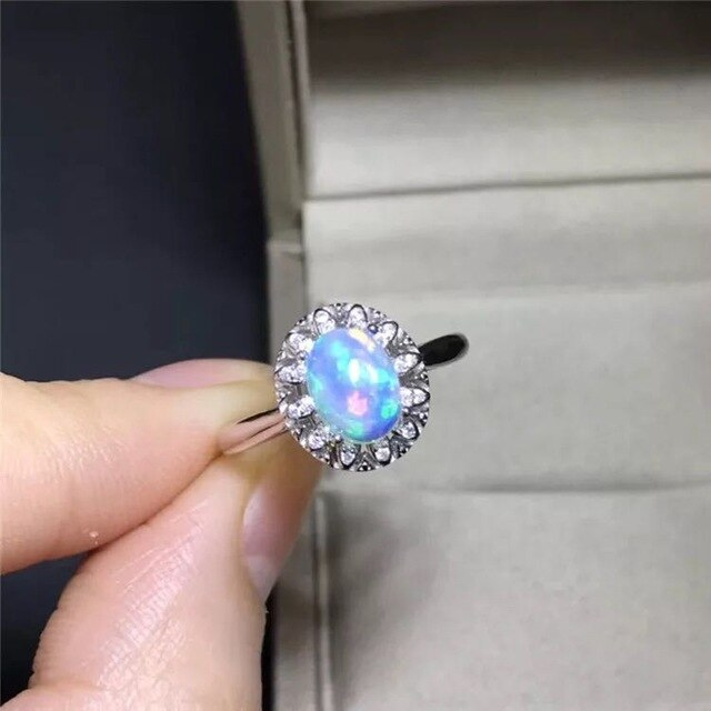 2019 hot sale Opal Rings For Women 925 Sterling Silver Colorful Ring Fashion Jewelry