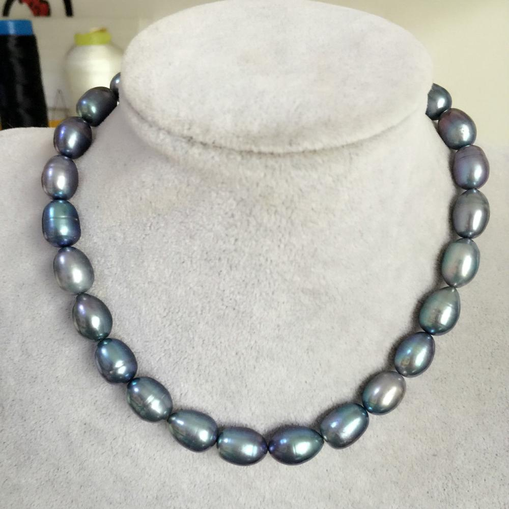 stunning 11-13mm tahitian black green baroque pearl necklace18