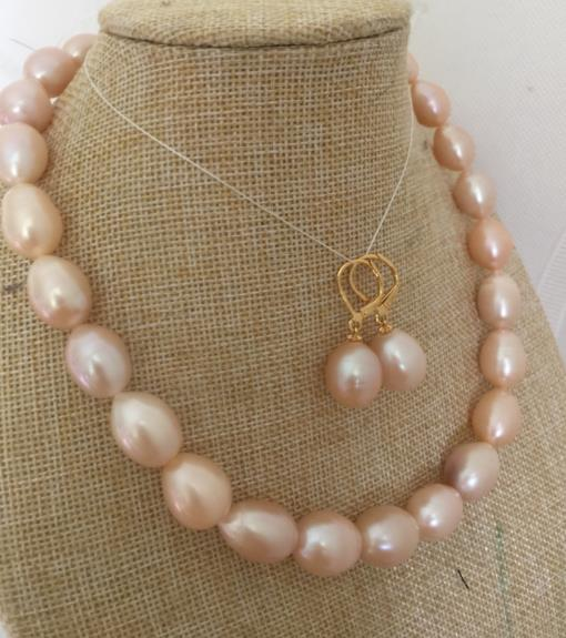 set s of 13-15mm south sea baroque gold pink pearl necklace &earring 14
