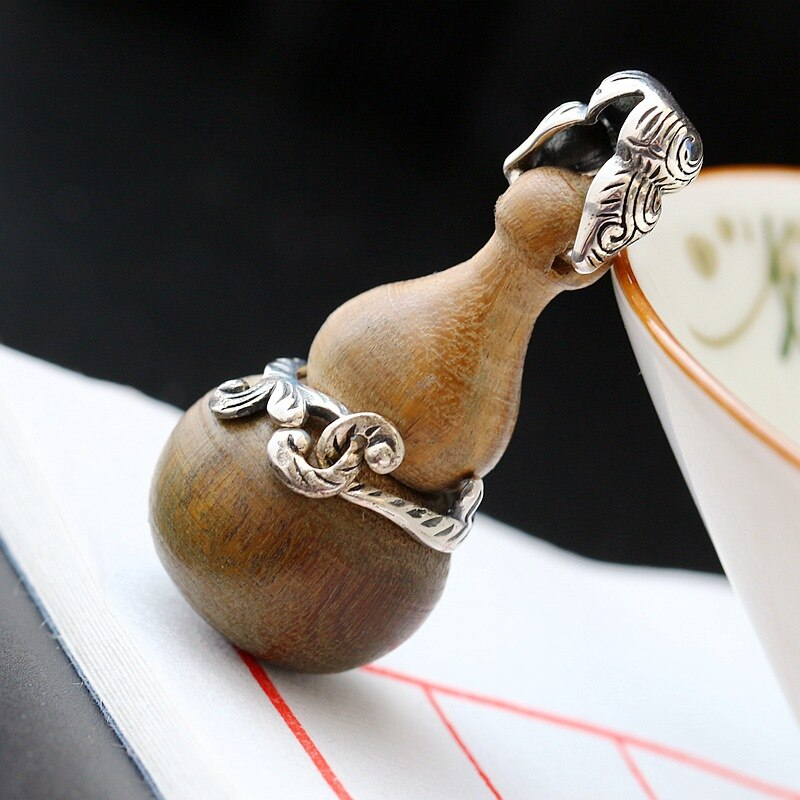 Silver Jewelry Wholesale S925 Sterling Silver Pendant Natural Green Sandalwood Calabash Silver Pendant