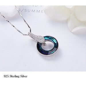 2021 New S925 Silver Inlaid Natural Crystal AAA Zircon Necklace Lady Lucky Wheel Pendant Crystal Clavicle Chain Jewelry