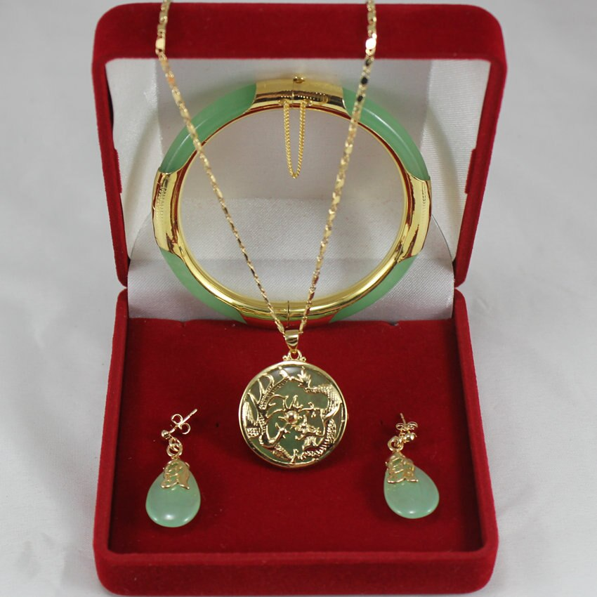 noble 7.5' light green Jades bracelet, earings, and fine dragon inlay pendant jewelry sets for party and wedding