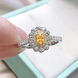 Wong Rain 100% 925 Sterling Silver Oval Cut Created Moissanite Citrine Gemstone Engagement Vintage Couple Rings Fine Jewelry