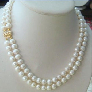 Hot sale new Style >>>>>hot-2-row-9-10MM-AKOYA-REAL-WHITE-PEARL-NECKLACE-14KGP-Clasp