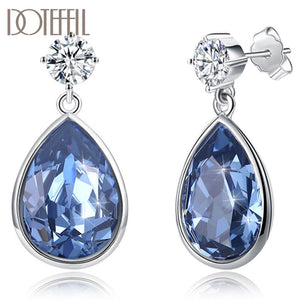 DOTEFFIL 925 Sterling Silver AAA Zircon Drop-Shaped Crystal Earrings Charm Women Jewelry Fashion Wedding Engagement Party Gift